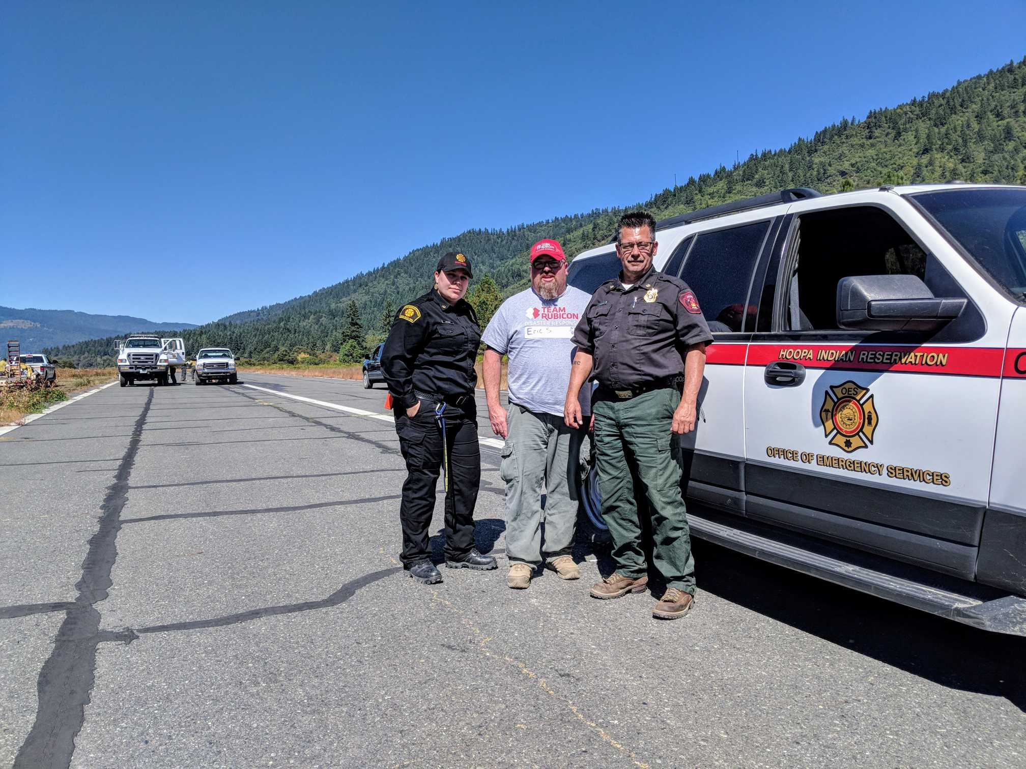 Hoopa Fire Department and Office of Emergency Services collaborating alongside Team Rubicon